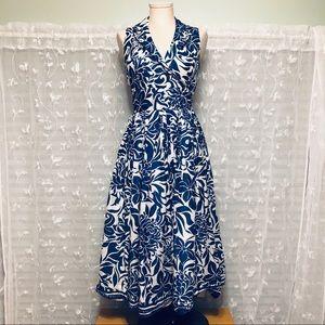 Jones New York Floral Cotton Wrap Dress Sleeveless